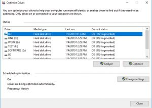 Defragment and optimize drives